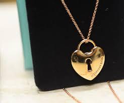 tiffany co 18k rose gold 9 28g locks heart lock pendant with 16in