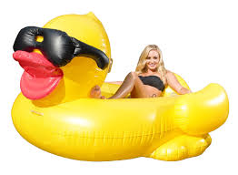 new for 2016 game 5000 giant inflatable pool floating riding derby duck w cup holders and straps floatie lounge for s and kids larger than swan