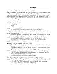 checklist on writing a literary analysis essay