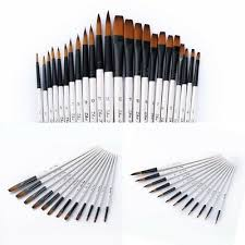 <b>24Pcs</b> Different Shape <b>Nylon Hair</b> Paint Brushes Artist Oil ...