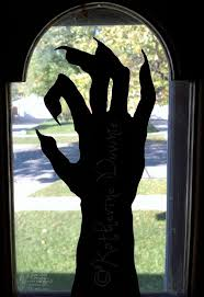 love halloween window decor: hand cut halloween silhouettes set   on etsy
