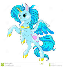 fairy tale character horse cartoon unicorn blue unicorn with long mane vector isolated