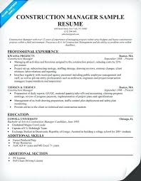 Construction Manager Resume Sample Format Examples Management Forms