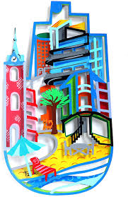 Amazon.com: Tzuki Tel Aviv mano de Fátima, colores City Arquitectura,  escultura de metal Pop Art, pintado a mano estilo Bauhaus regalo: Home &  Kitchen