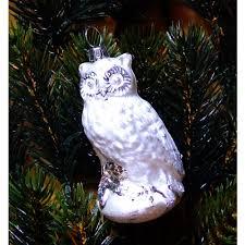 Eule Eisweiß Für Den Weihnachtsbaum Aus Lauschaer Glas