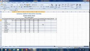 Ms Excel Students Marks Sheet Ms Excel 2007 Youtube