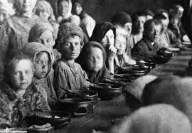 Image result for to cut back on their use of grain in order to help starving Europeans.