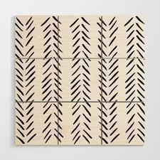 white herringbone pattern wood wall art