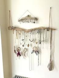 diy necklace holder driftwood jewelry organizer wall hanging necklace holder bracelet hanger earring display tree bohemian diy necklace holder diy jewelry