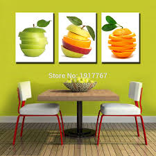 Green Apple Decorations For Kitchen Aliexpresscom Buy 3 Pieces Kitchen Wall Pictures Fruit Painting