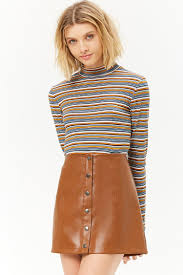 faux leather on front mini skirt