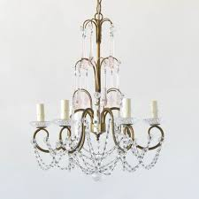 vintage italian iron and crystal chandelier