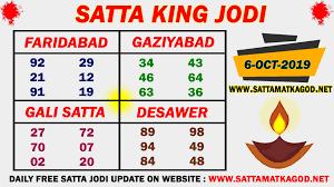 Jodi Chart 6 10 2019 Satta King Jodi Chart Gali Satta Desawer