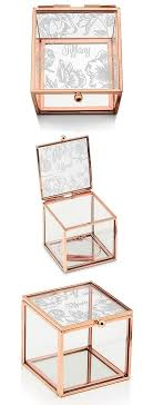 glass jewelry box with rose gold edges modern fl etching