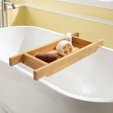 hancock bamboo 30 tub caddy which features high sides to keep bath items from tipping over made of water resistant and durable bamboo this caddy is