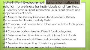 hum fnw 4 evaluate nutritional information in relation to wellness for individuals and families