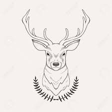 Vector Hand Drawn Illustration Of Deer And Laurel In 2019 Tattoo