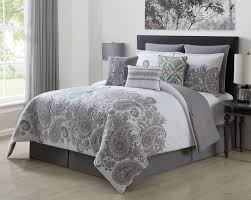 gray and white king comforter set. Plain And 9 Piece Mona GrayWhite 100 Cotton Comforter Set Queen And Gray White King