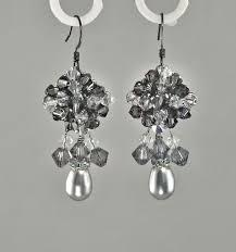 dolce silver grey chandelier earrings with teardrop pearl