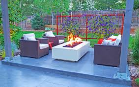 Powder coated steel fire pit in Modern Outdoor Living Space Mile High  Landscaping in Denver