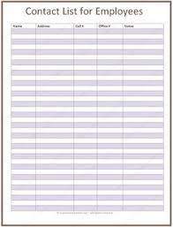 employee contact list template employee contact list template in a basic format office space
