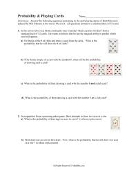 Probability With A Deck Of Cards Worksheet Answers Worksheets for ...