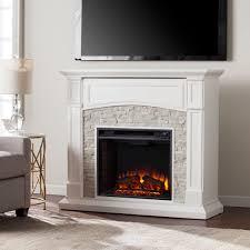45 75 seneca electric a fireplace white w white faux stone