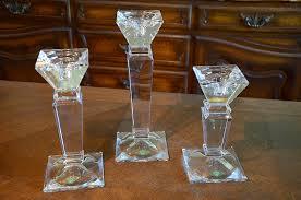 Shannon Crystal Design of Ireland Czechoslovakia Candle Holder Pillar Set  Three