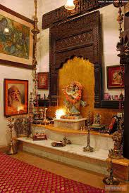 Pooja Room Designs In Living Room An Elegant Puja Room With Marble Floor And Hanging Bells And Idols