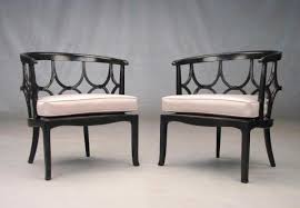 Regency Black and Ivory Round Back Lounge Chairs