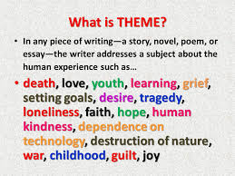 what is theme in any piece of writing a story novel poem or 2 what
