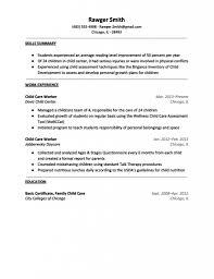 Child Care Responsibilities Resume