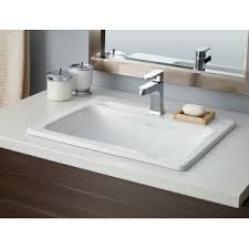 commercial bathroom sink. Manhattan Vitreous China Rectangular Drop-In Bathroom Sink With Overflow Commercial