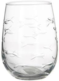 rolf glass 17 oz school of fish stemless goblet one size