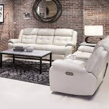 picture of holbrook putty leather reclining sofa console loveseat
