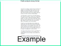 Poetry Sample Poetic Analysis Essay Format Free Examples Of Poetry