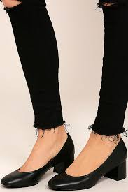 steve madden tomorrow black leather block heels