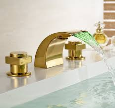 most interesting gold bathroom sink faucets excellent decoration polished led waterfall faucet