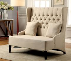 Living Room Bench With Back Furniture Of America Ivory Carla Romantic Wingback Bench Home