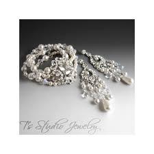 bridal pearl cuff bracelet chandelier earrings with crystals rhinestones