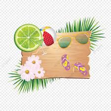 熱帯の葉と木の上の夏の要素 夏祭りの休日はベクトルのアートの装飾は