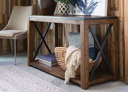 Rustic style furniture Industrial Rustic Table Sofa Table Modsy Blog What Is Rustic Style Living Spaces