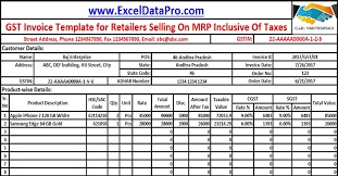 Excel Invoice Format Download Gst Invoice Format For Selling Goods On Mrp Inclusive Of