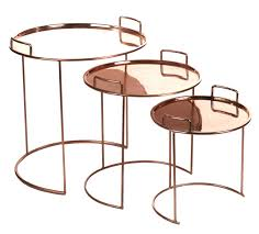 furniture coffee tables tray round nested tables 3 pieces stackable by pols