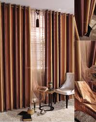 brown vertical striped curtains design ideas for modern living room decor with glass window also white