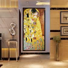jy gmw03 the kiss pattern mural klimt artwork glass pattern artistic wall mural design