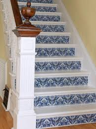 ci susan teare white and blue faux tile staircase2 s3x4
