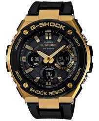 g shock watches macy s g shock men s analog digital black and gold black silicone strap watch 59x52 gsts100g
