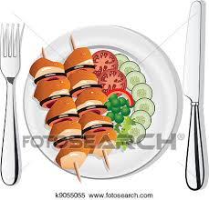 plate of food with chicken clipart. Contemporary Chicken Clipart  Vector Grilled Chicken Vegetables On The Plate Fork And Knife  Fotosearch With Plate Of Food Chicken