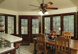 Shutters For Kitchen Cabinets Stained Plantation Shutters With Painted Trim Classic Line